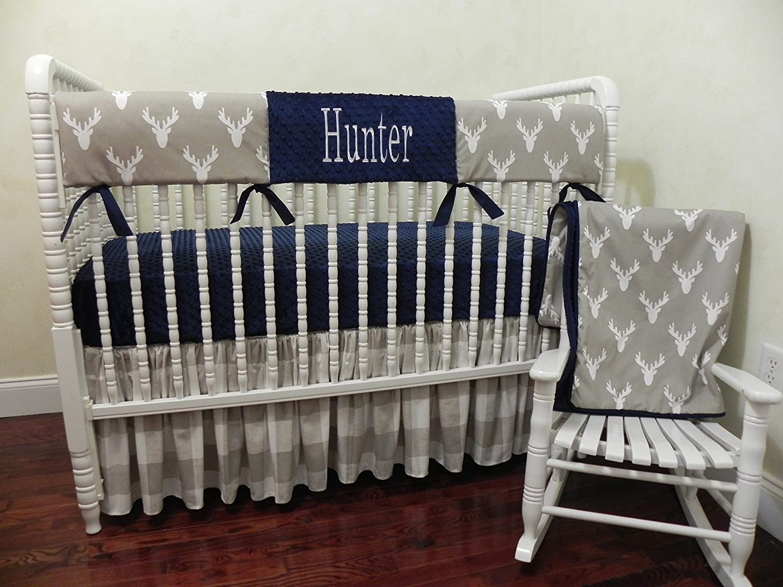 Nursery Bedding, Bumperless Baby Crib Bedding Set Hunter, Baby Boy Bedding, Crib Rail Cover, Deer Baby Bedding, Woodland Nursery Bedding - 1 - 4 pieces