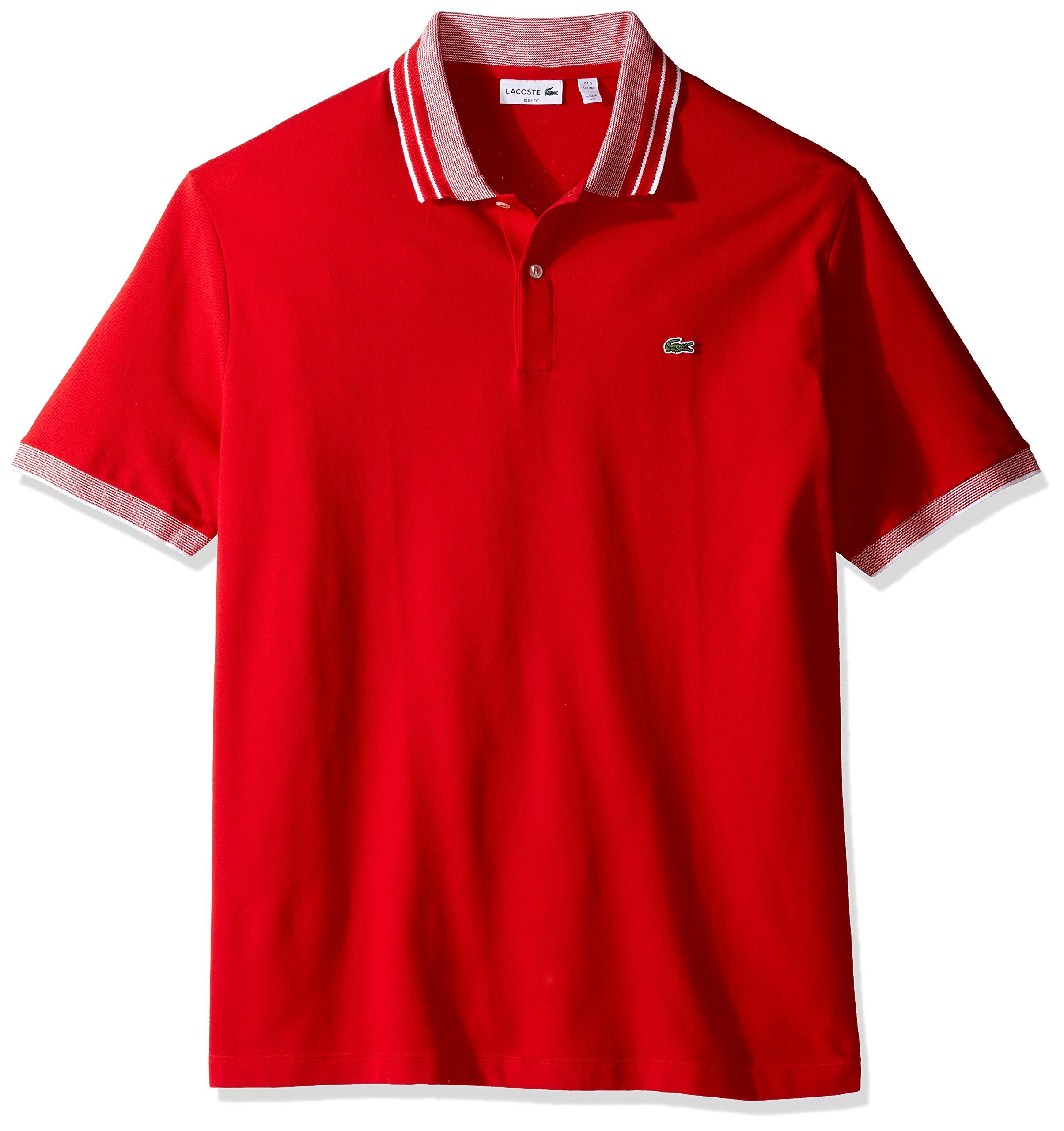 Lacoste Men's Short Sleeve Semi Fancy Stretch with Fine Stripe Slim Polo, Red/White, 6