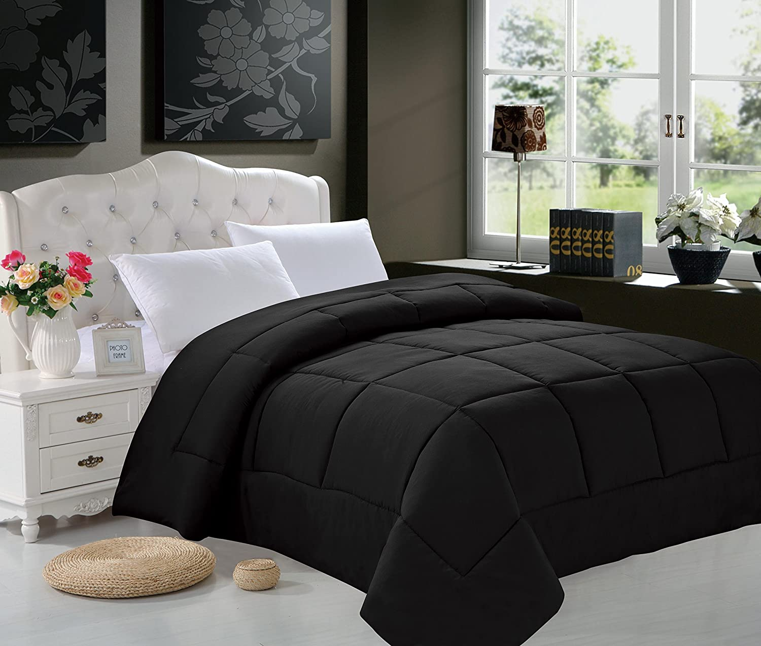 Elegant Comfort Luxury Down Alternative Over-Filled Comforter/Duvet Cover Insert Hypoallergenic, Twin, Black