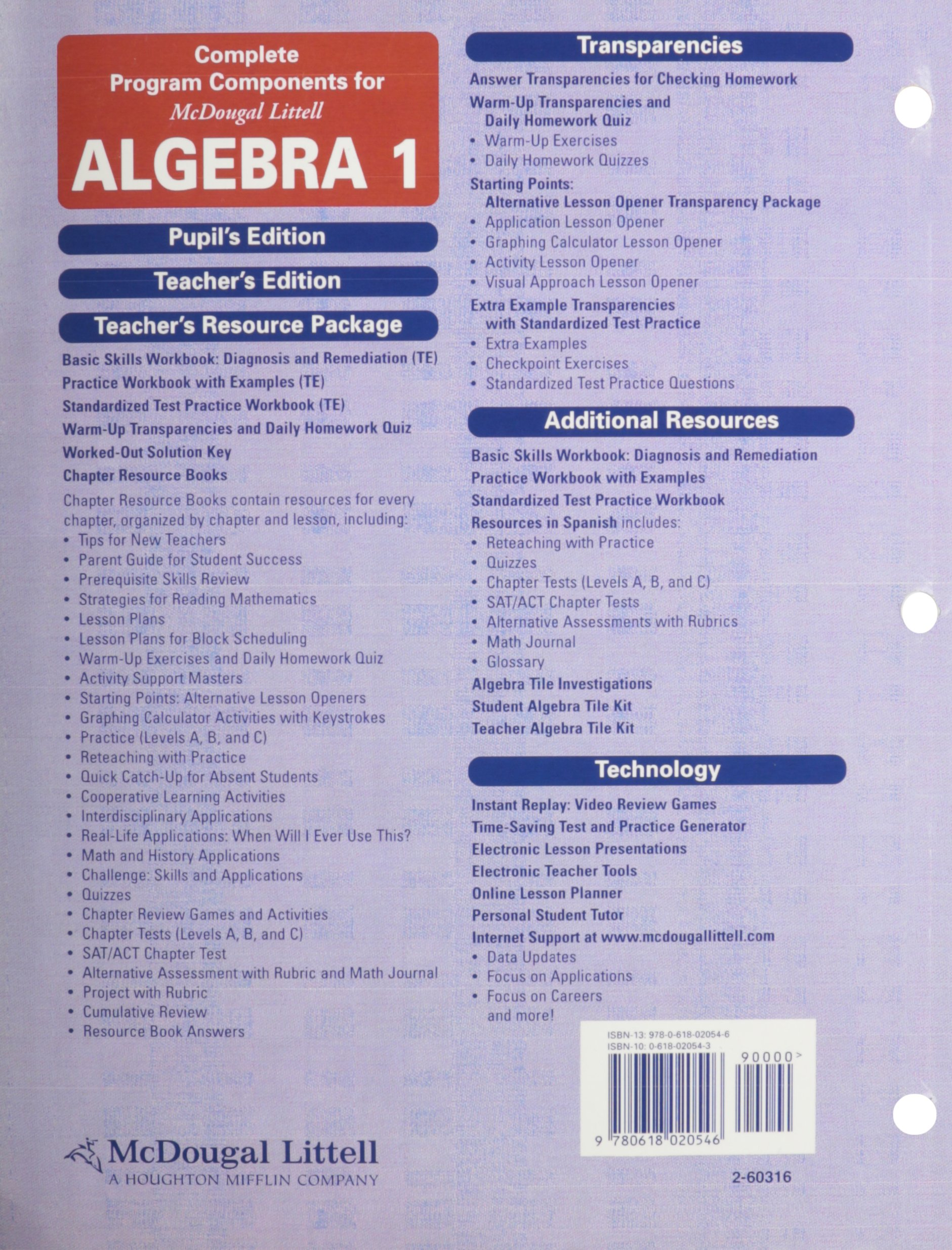 Mcdougal littell algebra 1 standardized test practice workbook mcdougal littell algebra 1 standardized test practice workbook teachers edition mcdougal littel 9780618020546 amazon books fandeluxe Choice Image