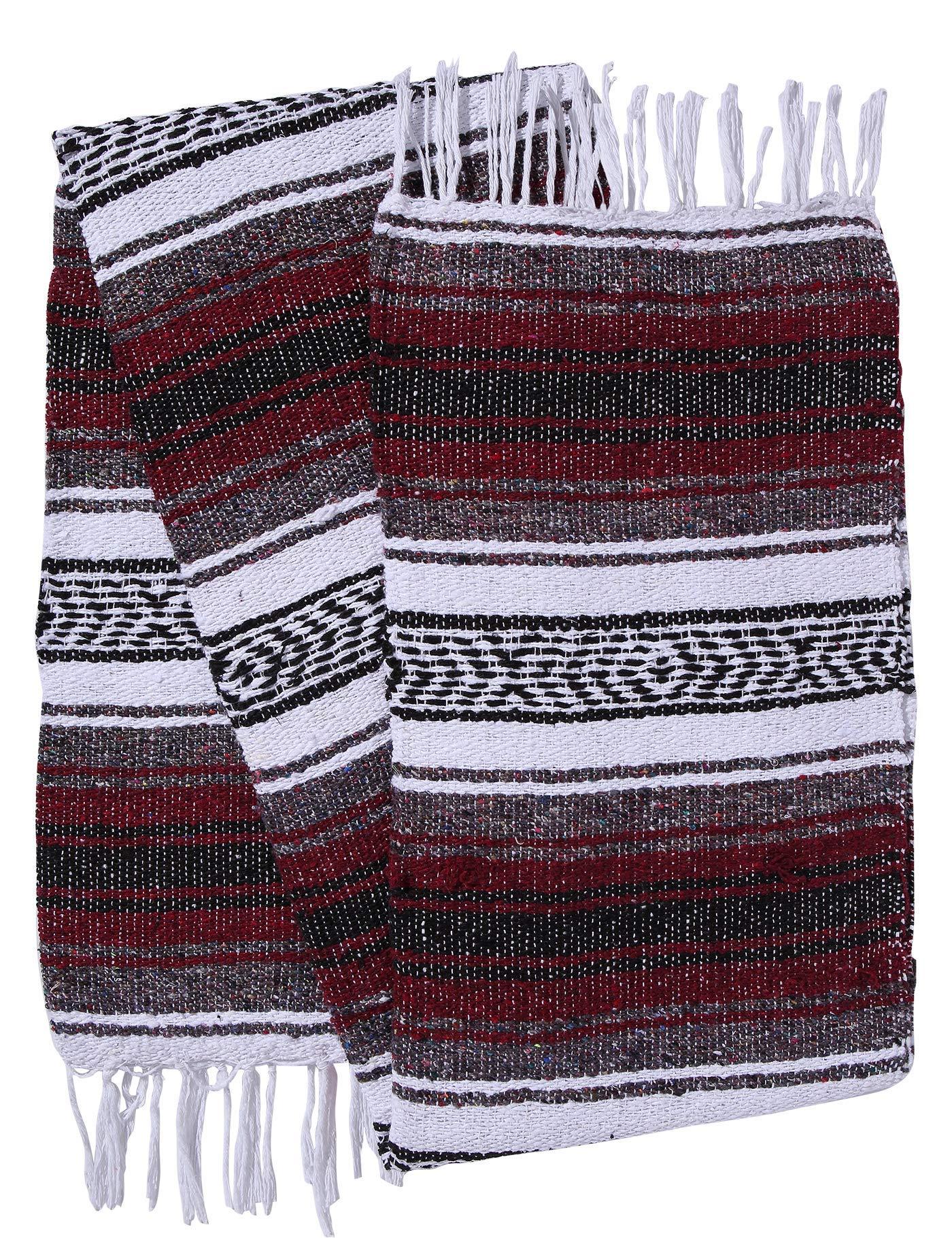El Paso Designs Genuine Mexican Falsa Blanket - Yoga Studio Blanket, Colorful, Soft Woven Serape Imported from Mexico (Burgundy) by El Paso Designs (Image #3)