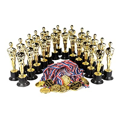 "Award Medal of Honor Trophy Award Set of 48 Includes 24 Gold Winner Award Medals; 24 Gold Award Trophy Statues 6"", Award Trophies for Award Ceremonies, Party Favors, Goody Bag Stuffers, Party Supplies: Sports & Outdoors"