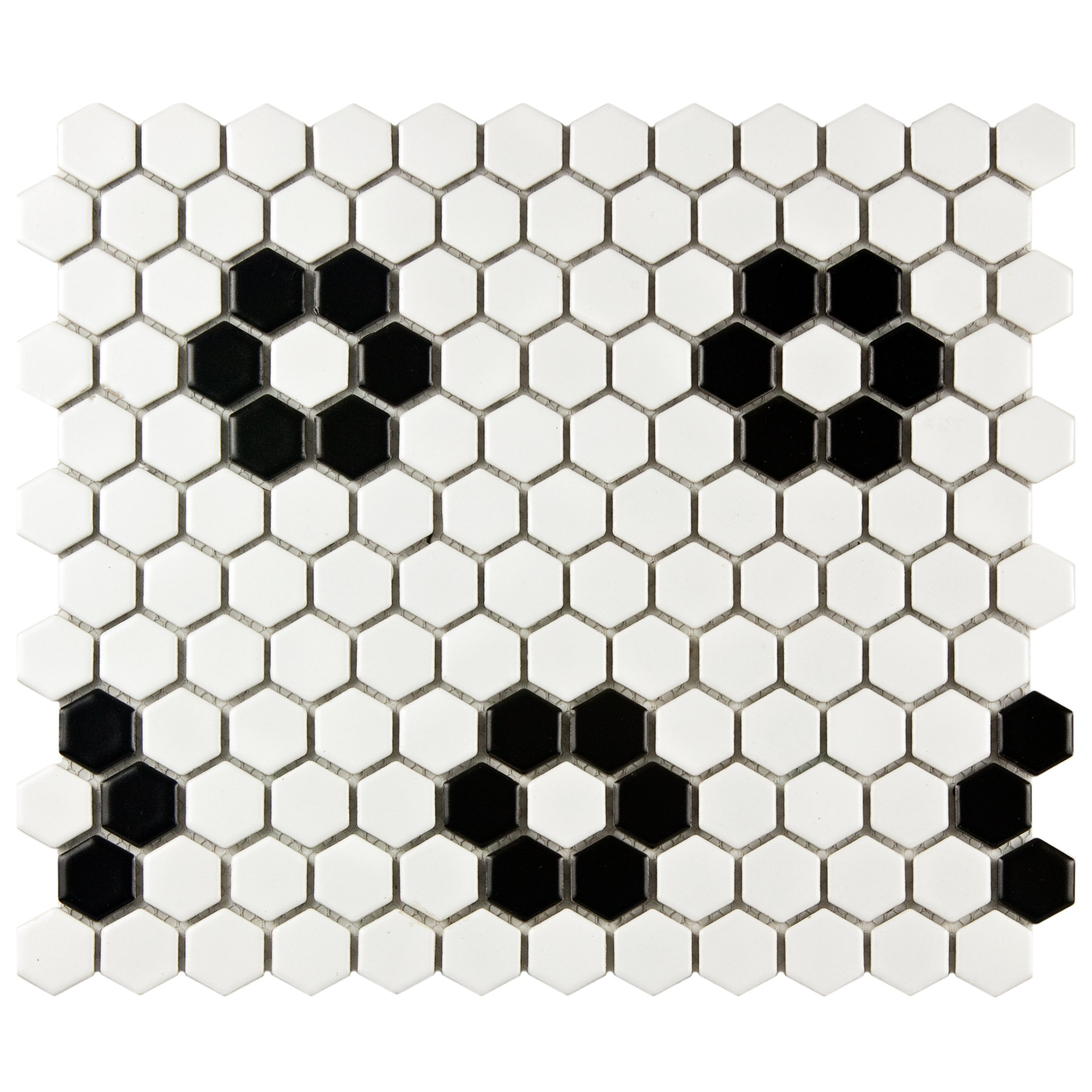 SomerTile FDXMHMWF Metro Hex Matte  White w/Flower  Porcelain Mosaic Tile, 10.25'' x 11.75'', Matte White by SOMERTILE
