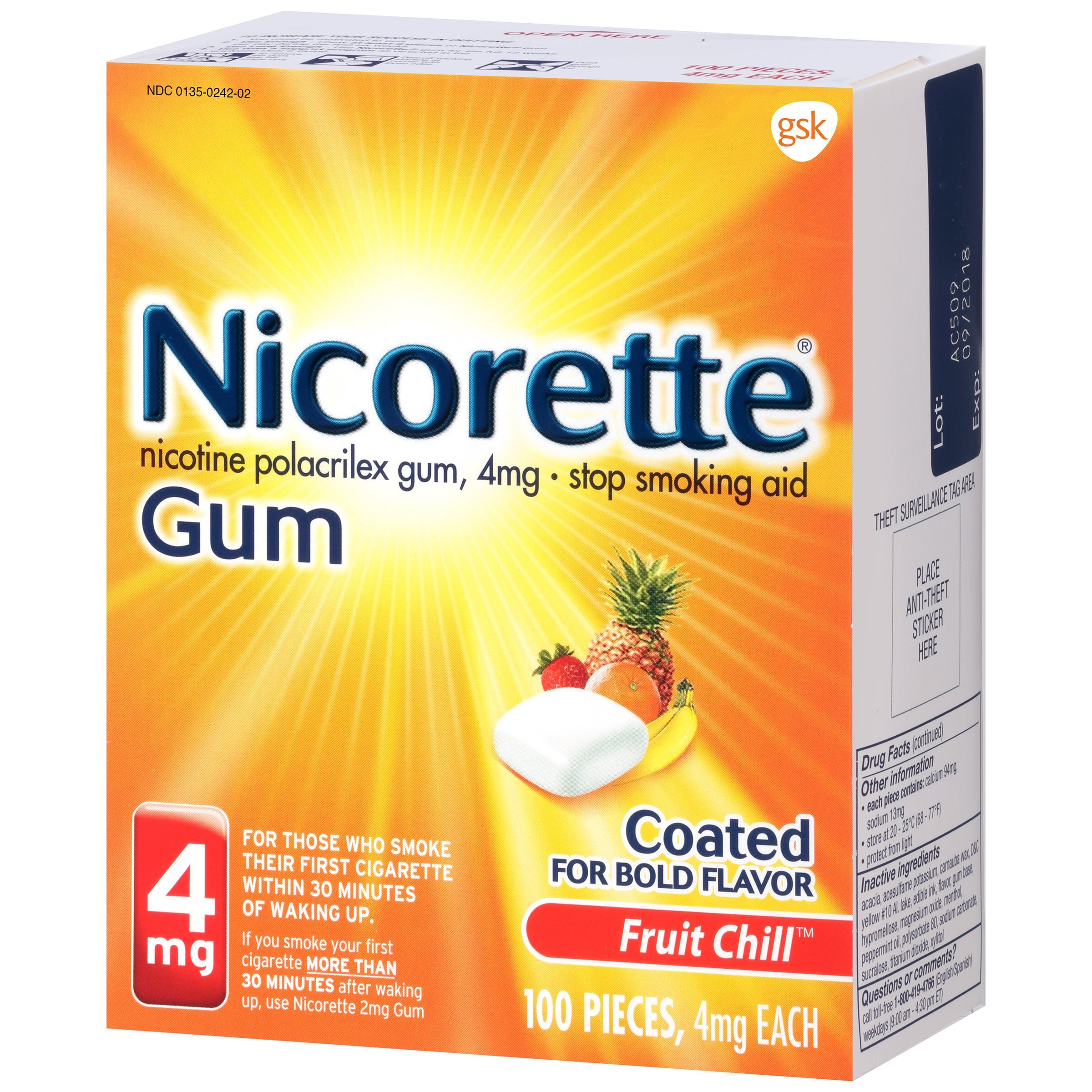 Nicorette Nicotine Gum Fruit Chill 4 Milligram Stop Smoking Aid 100 Count by Nicorette