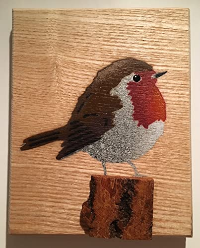 Robin Bird Stencil Artwork Handmade Spray Painted Art Picture On Wood Gift For Her Wedding Birthday Your Wife Grandma