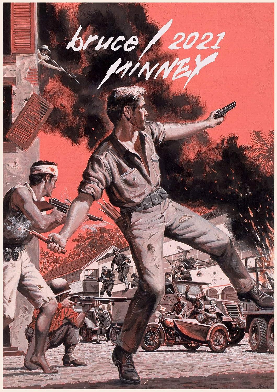 2021 Wall Calendar 12 pages A4 Vintage Man Action Pulp Fiction Pinup m3-3001