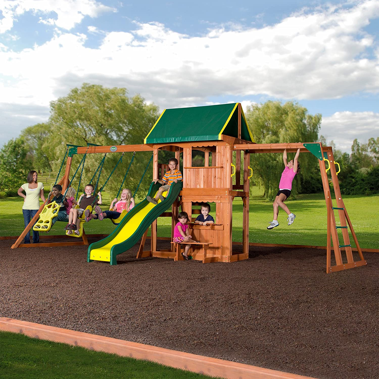 Amazoncom Backyard Discovery Prairie Ridge All Cedar Wood - Backyard playground equipment