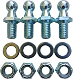 "(4 Pack) 10mm Ball Studs With Hardware - 5/16-18 Thread x 1/2"" Long Shank - Gas Lift Support Strut Fitting"