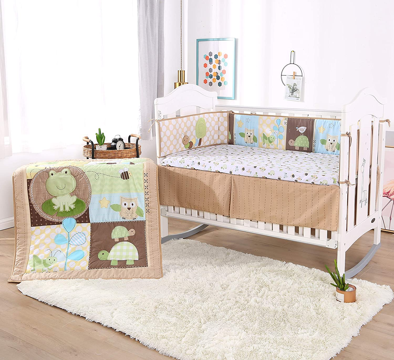 Wowelife Animal Baby Crib Set Brown 7 Piece Green Tortoise Bee Ant Frog Owl Theme Nursery Crib Bedding(Green Frog)