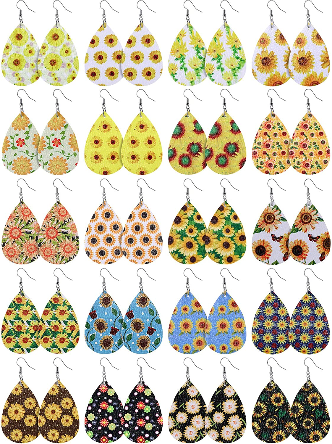 4 pairs Floral Patterned FAUX leather teardrops Sunflower Teardrops NOT Genuine Leather vegan leather teardrop shapes for earrings