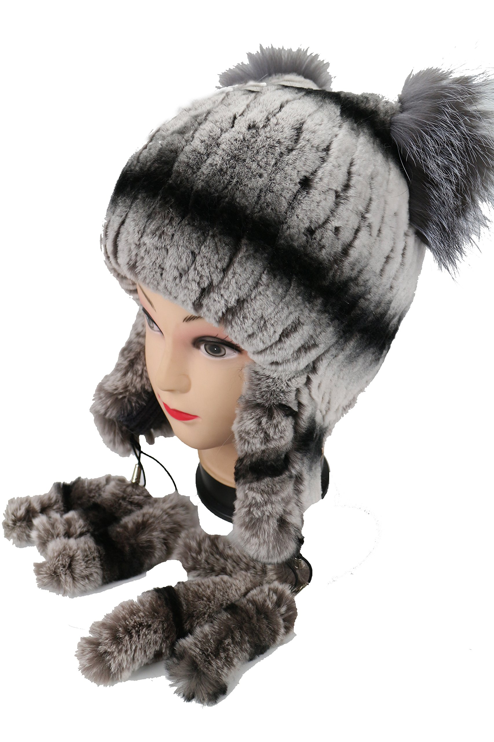 Ysting Womens Knit Rex Rabbit Fur Beanie Hat with Silver Fox Fur Top Natural Fur Hats Earmuff (A) by Ysting&CO (Image #1)