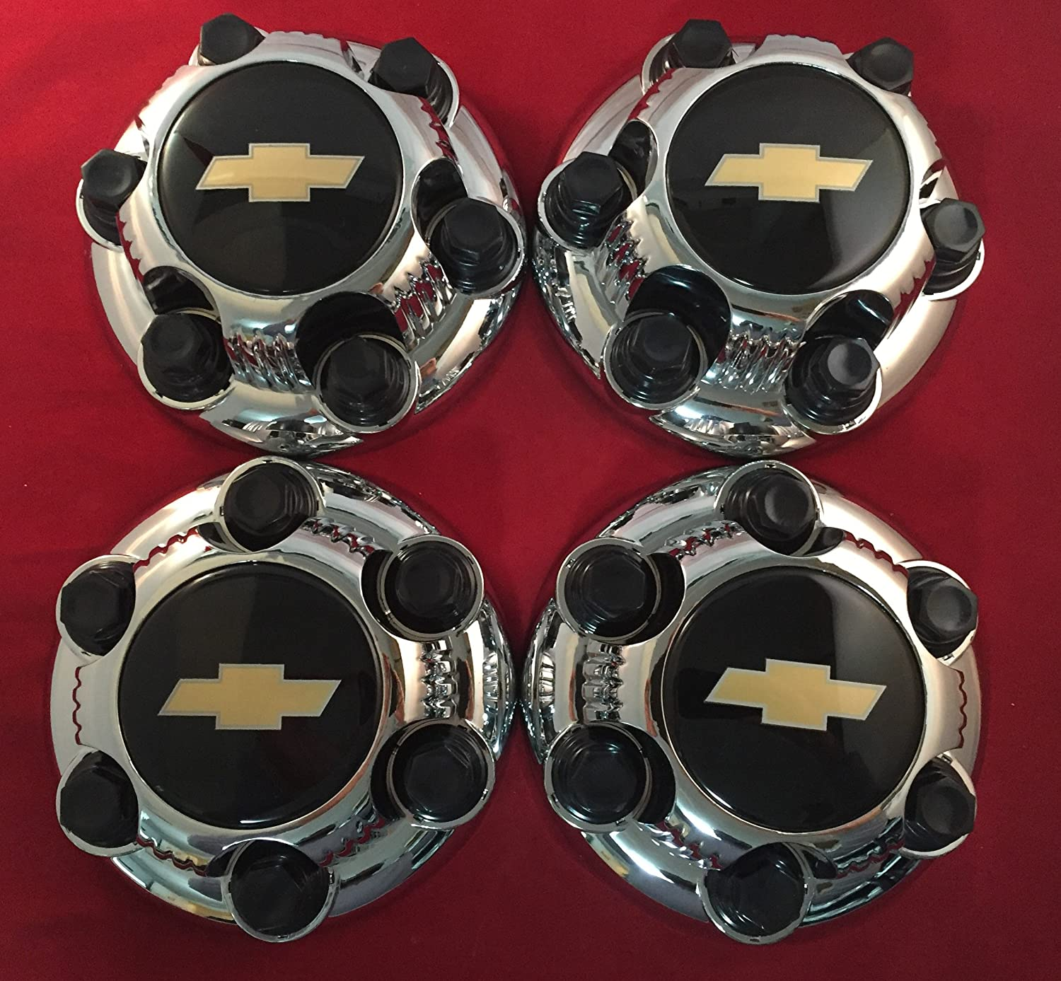 4 Piece Set Chrome Chevy Silverado 6 Lug 1500 Center Caps 16' 17' Steel wheels Black Logo Replacement 5129C