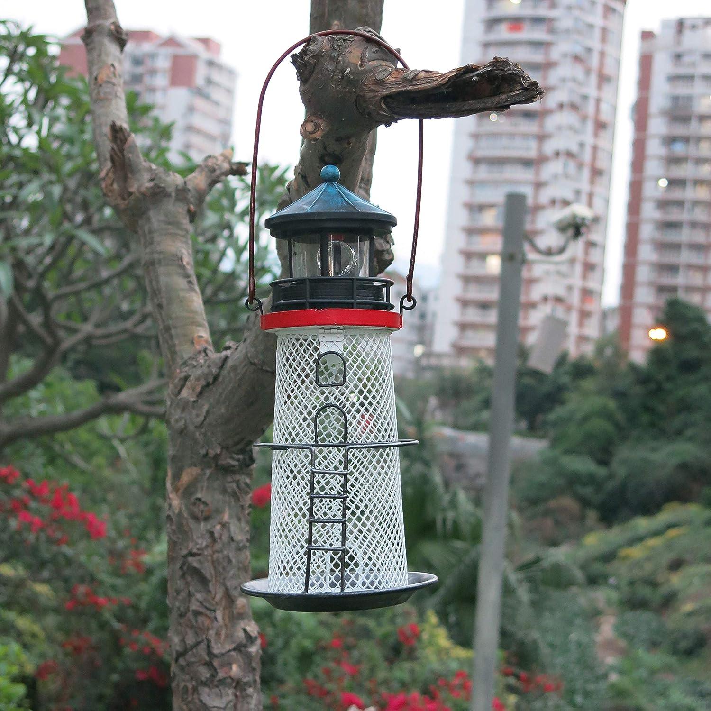 Solar Lighthouse, Metal Bird Feeder, revolving Light Lighthouse, Garden Art Decoration, Hanging Light, Hanging Light, Portable, Lighthouse, Road, Trail, Lawn, Yard, Lighthouse Decoration