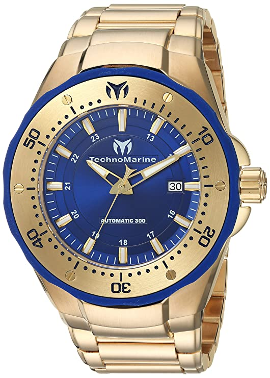 Amazon.com: Technomarine Mens Manta Automatic Stainless Steel Casual Watch, Color:Gold-Toned (Model: TM-215096): Watches