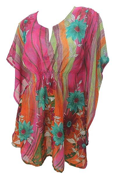 LA LEELA fiore stampato chiffon trasparente spiaggia rosa swim coprire caftano  caftano  Amazon.it  Abbigliamento 86846475940b