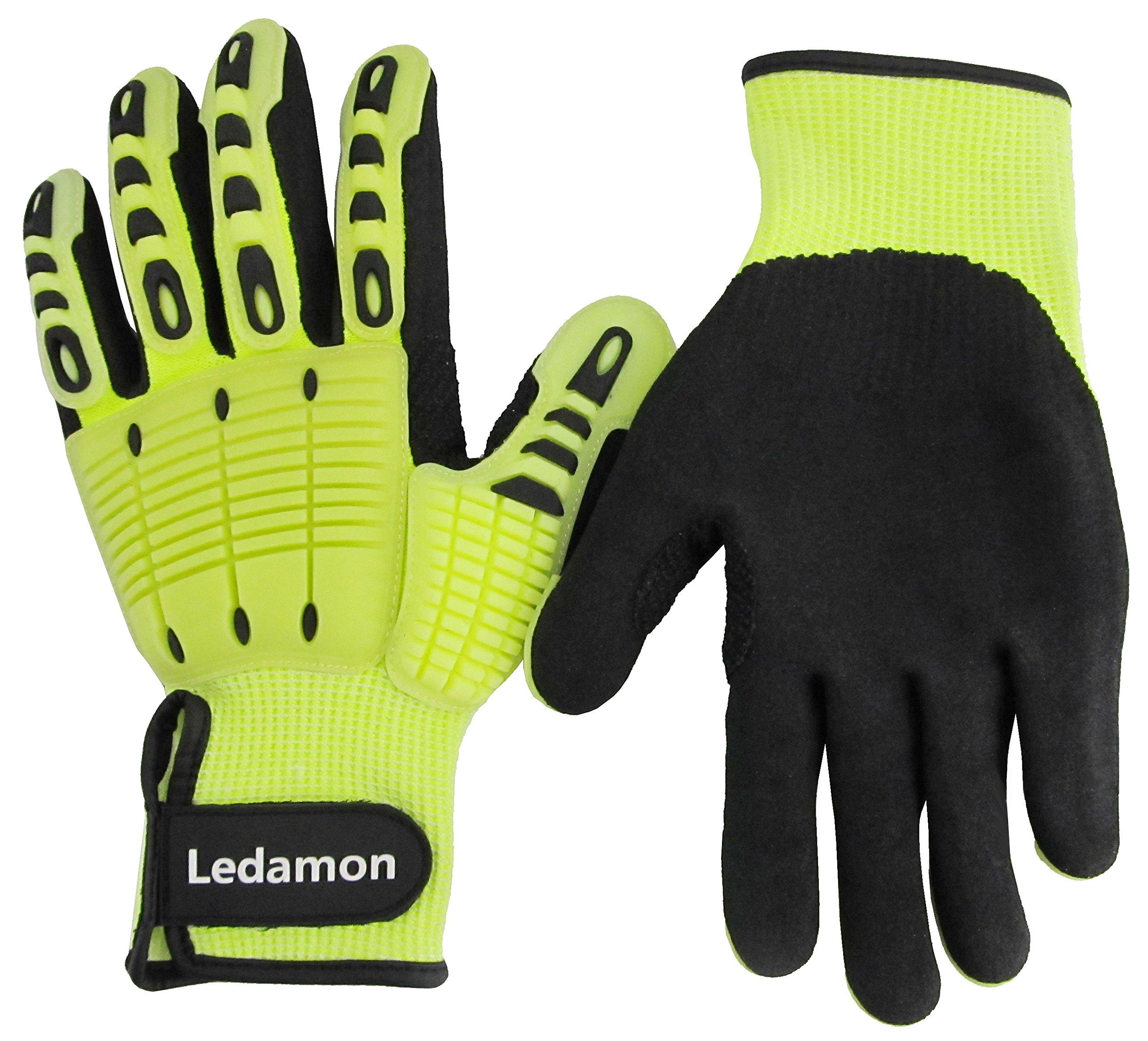 Ledamon Anti-Vibration Impact Resistant Cut Resistant Wear Resistant Mechanic Work Gloves Professional-Grade Protection & Durability (XX-Large)