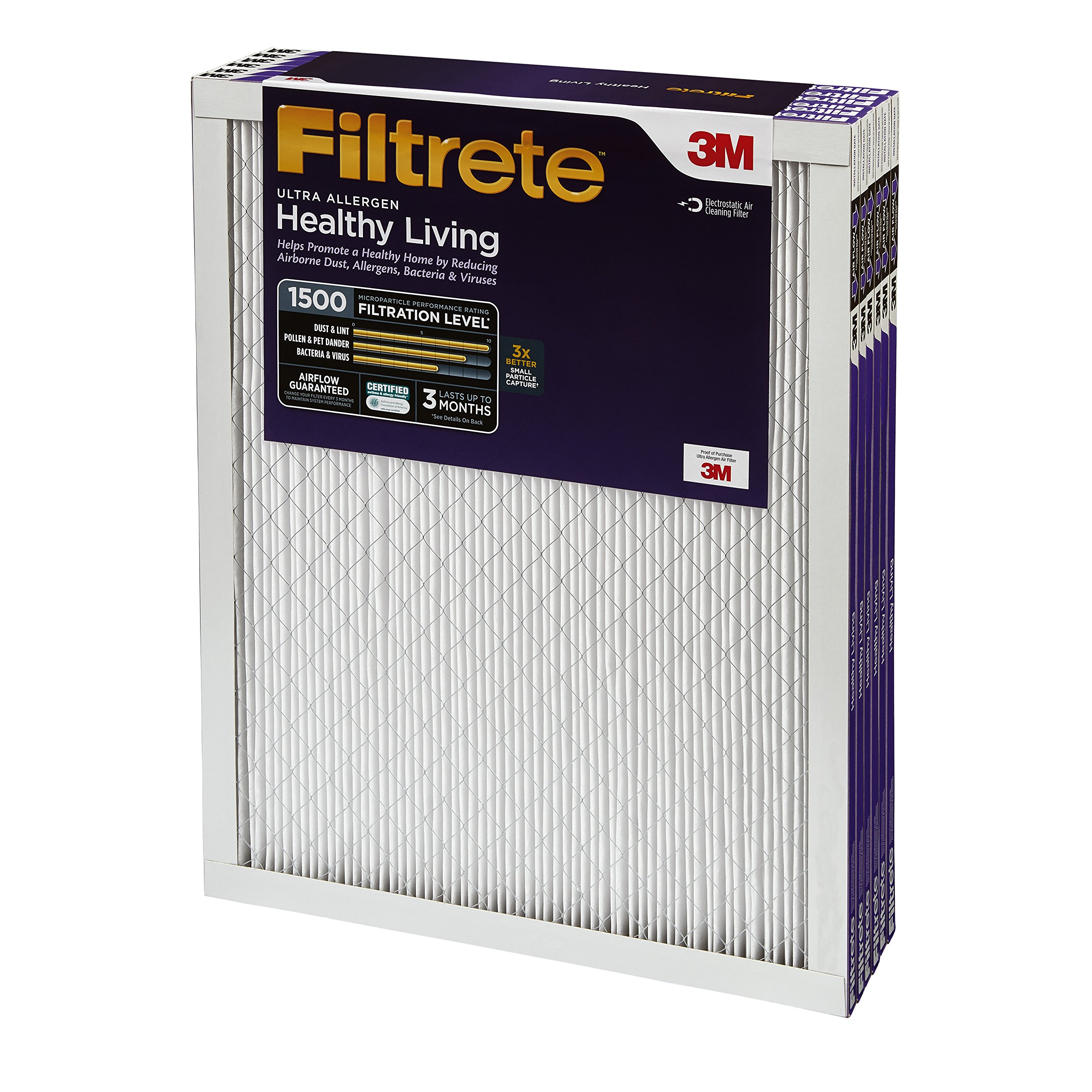 Filtrete MPR 1500 12 x 24 x 1 Healthy Living Ultra Allergen Reduction HVAC Air Filter, 6-Pack by 3M (Image #2)