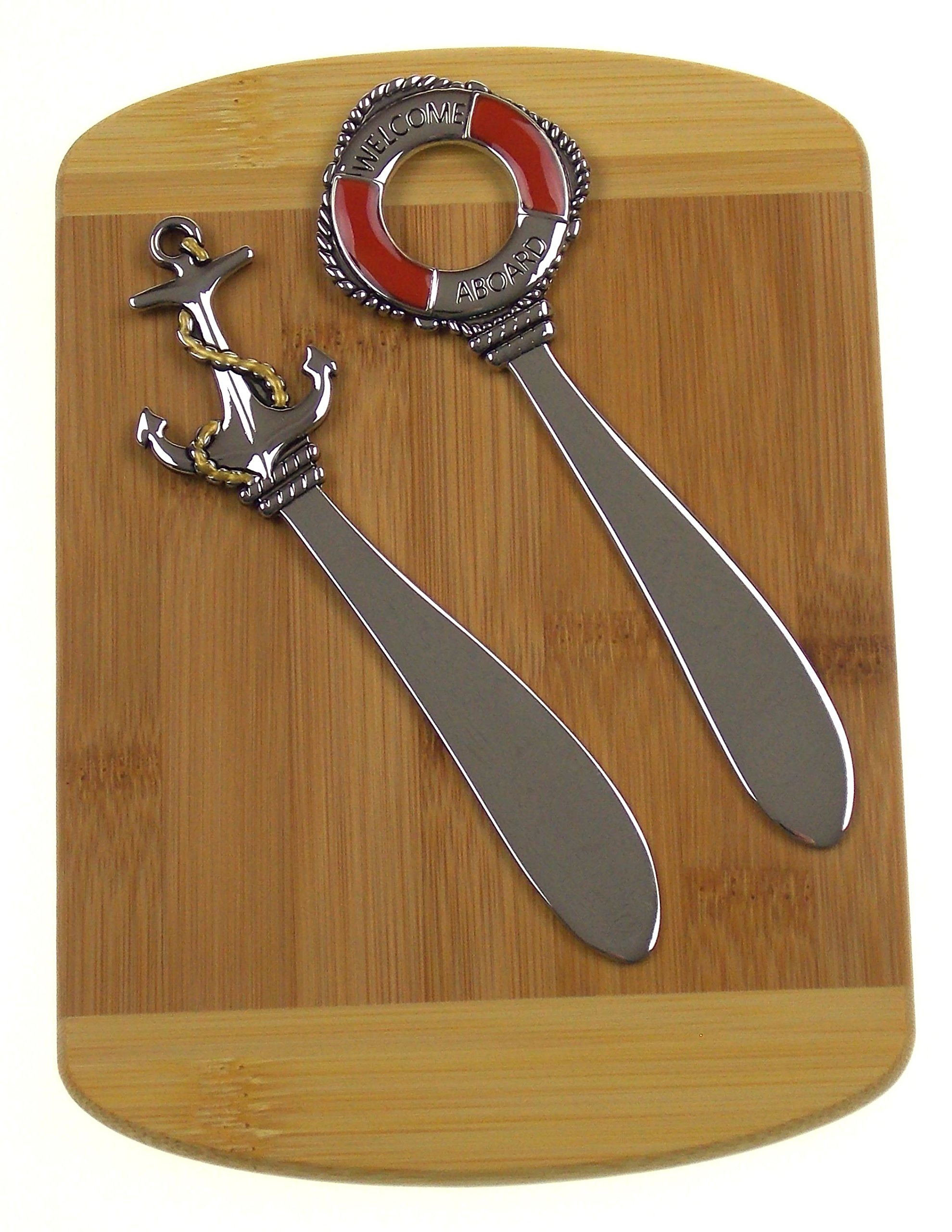 Nautical Cheese Spreaders Bundled with Bamboo Cheese Board by Hickoryville