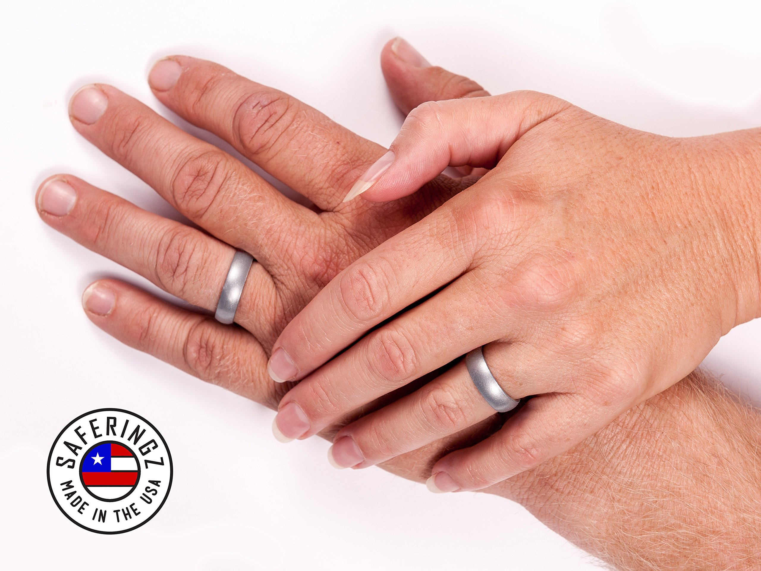 Men or Women Size 4-18 SafeRingz Metallic Silicone Wedding Ring Made in The USA
