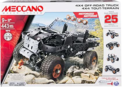 Meccano by Erector, 4x4 Off-Road Truck 25 Model Building Set, 443Piece, Stem Engineering Education Toy for Ages 9 & Up