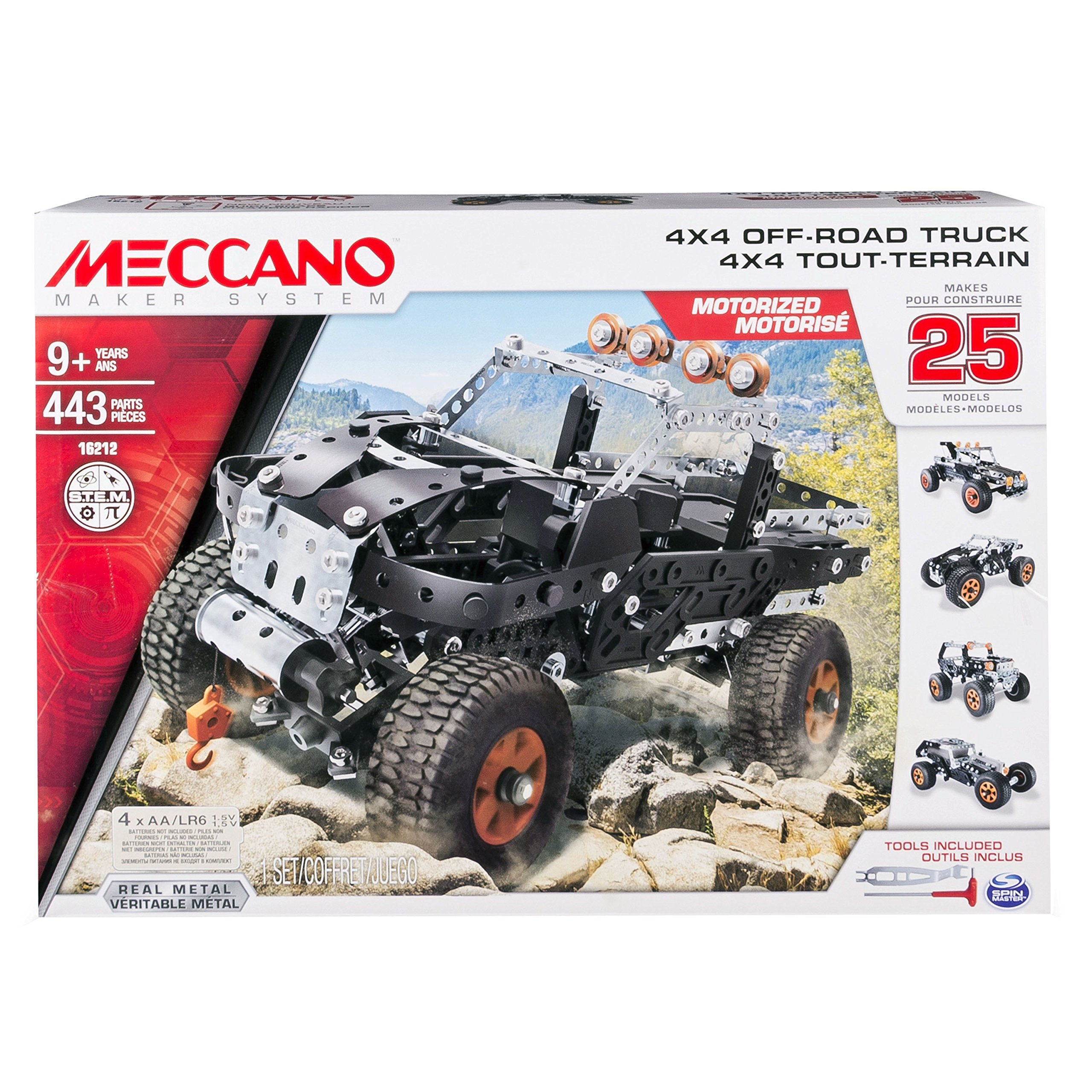 Meccano Erector, 4x4 Off-Road Truck 25 Model Building Set, 443 Pieces, for Ages 9 and up, STEM Construction Education Toy