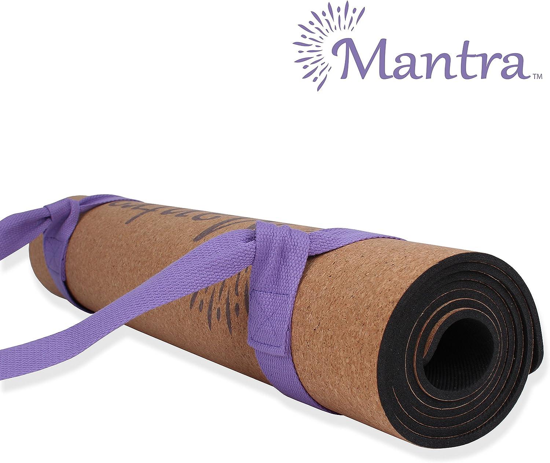 Mantra Cork Yoga Mat – Best Yoga Mat for Non Slip Grip – Thick Yoga Mat with Yoga Mat Strap – 72 x 24 x 5mm -100 Natural Cork Mat – Eco-Friendly Non-Toxic Natural Rubber Padding