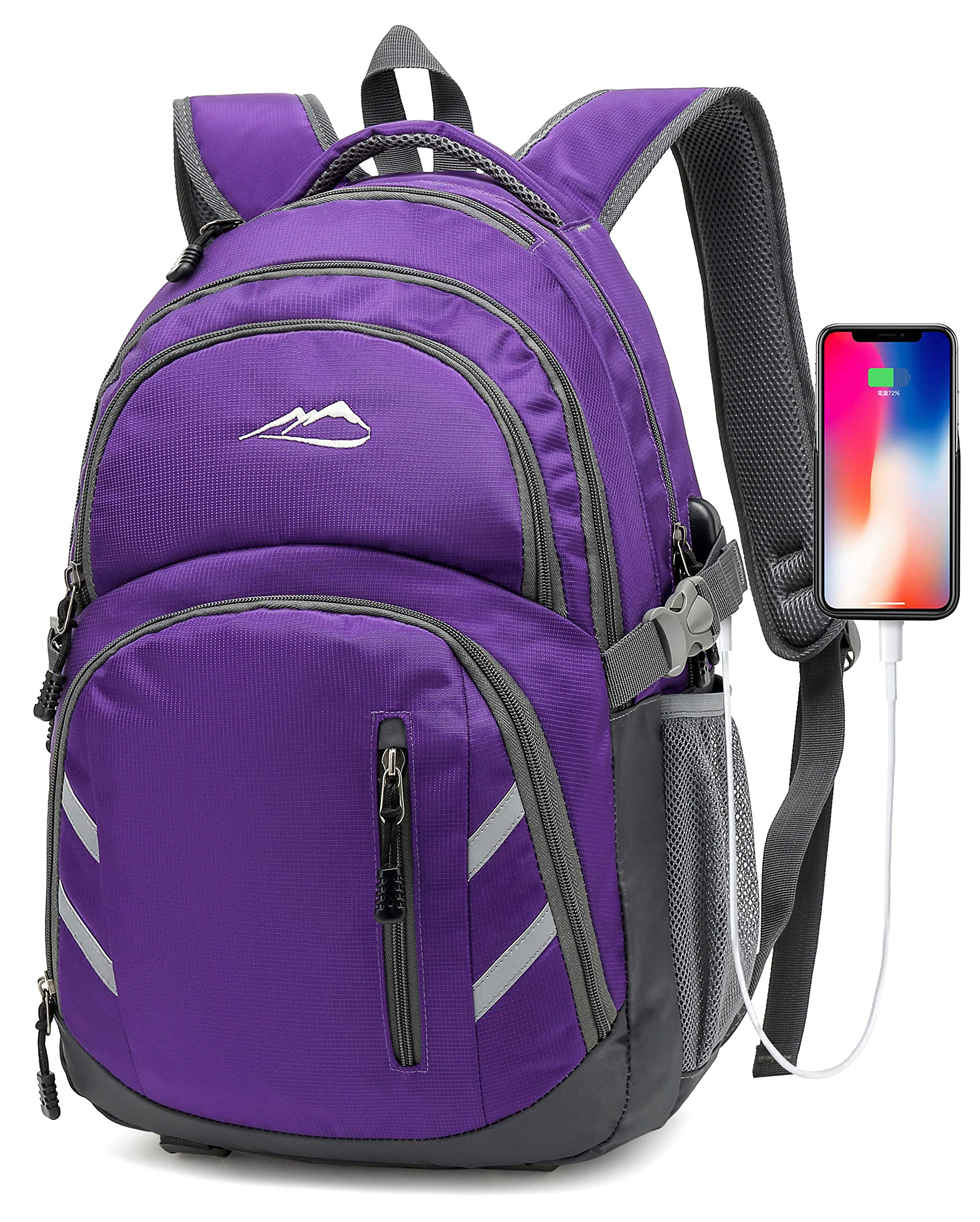 Backpack For School College Student Business Travel Bookbag with USB Charging Port (Purple) by Sandsuced
