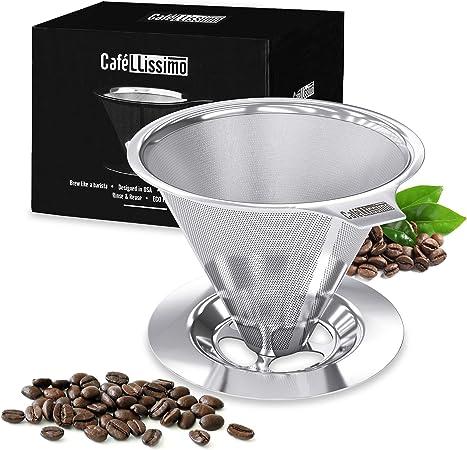 Cafellissimo - Cafetera eléctrica verter sin papel, 18\8 (304) Acero inoxidable cono de goteo filtro de café reutilizable, taza individual de café.: Amazon.es: Hogar