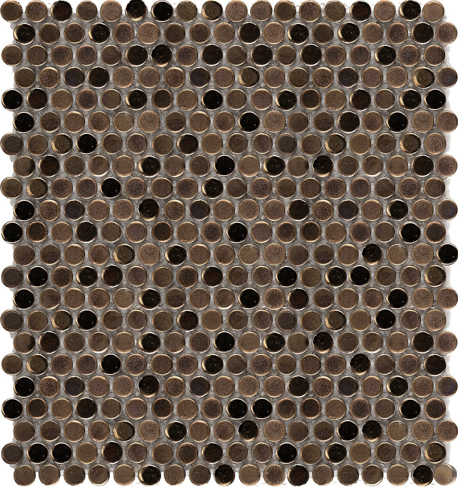Emser Tile ''Confetti'' Penny Round Mosaics on Mesh, 12'' x 12'', Bronze by Emser Tile
