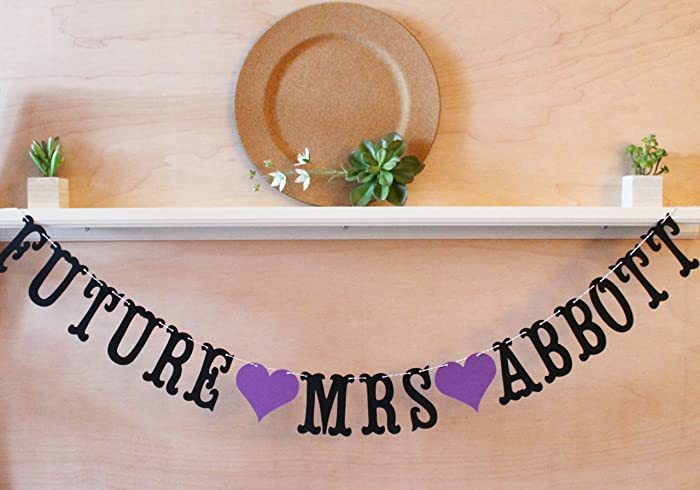 future mrs sign custom bridal shower banner with married name