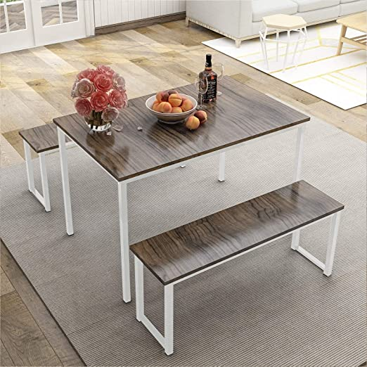 MIERES 3 Pieces Dining Table Set 2 Benches Kitchen Furniture, Modern Style  Wood Top with Metal Frame, Brown