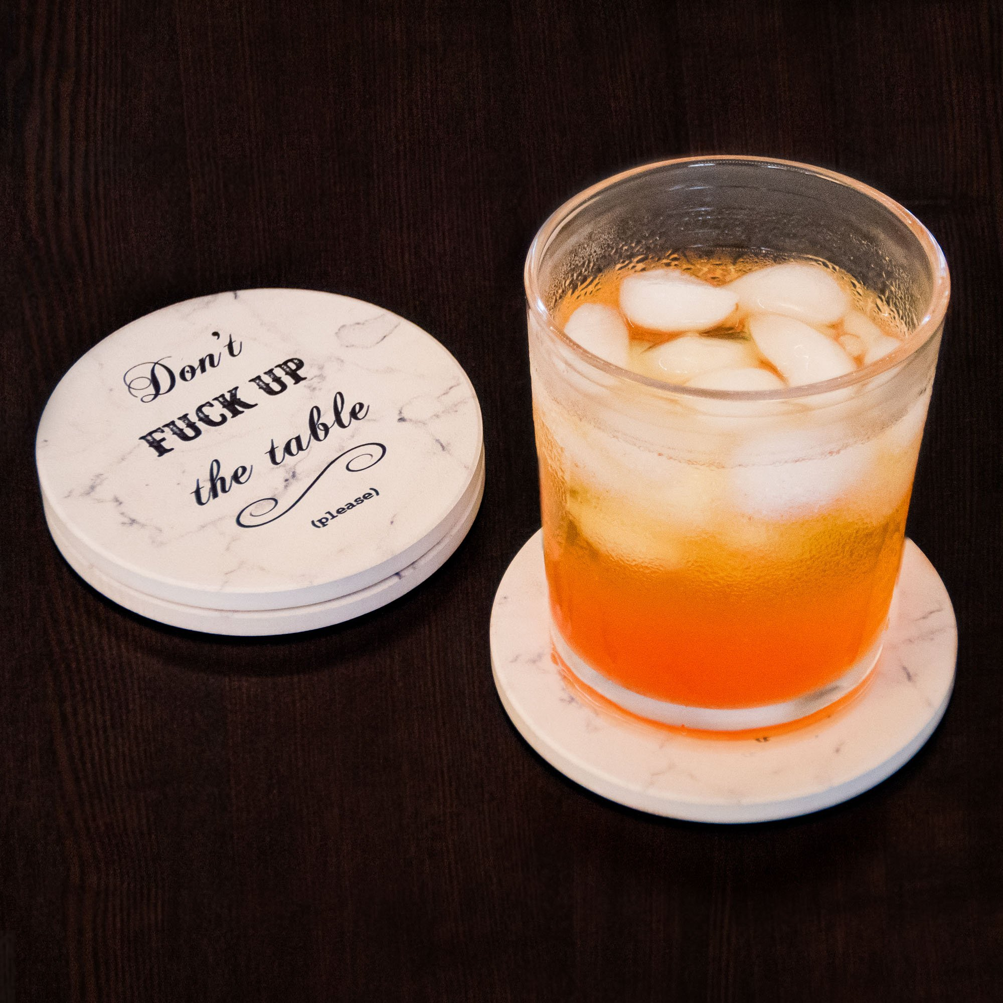Urban Mosh Coasters for Drinks - Funny Absorbent Ceramic Stone Set of 6 White Marble Style with Cork Backing and Holder Included, Protect Your Furniture From Spills, Scratches, Water Rings and Damage by Urban Mosh (Image #6)