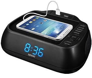 Duronic ACR02 Radio FM Despertador Digital con Alarma y Reloj / Pantalla LED Azul / 2 Puertos USB para Cargar Tus Dispositivos: Amazon.es: Electrónica