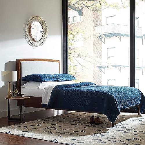 Rivet Modern Geometric Triangle Wool Area Rug, 8 x 10 Foot, Blue Ivory