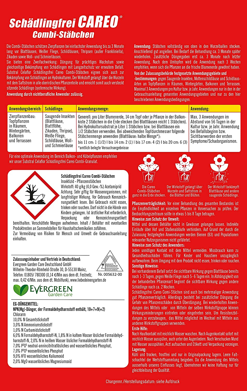Celaflor Sch/ädlingsfrei Careo Combi-St/äbchen mit Pflanzenschutz und D/üngerfunktion 10 St