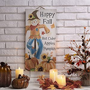 "Glitzhome Rustic Wooden Scarecrow Wall Hanging Decor - 24""H Front Door Fall Harvest Thanksgiving Porch Sign Decorations with Hot Cider Apples Pumpkins"