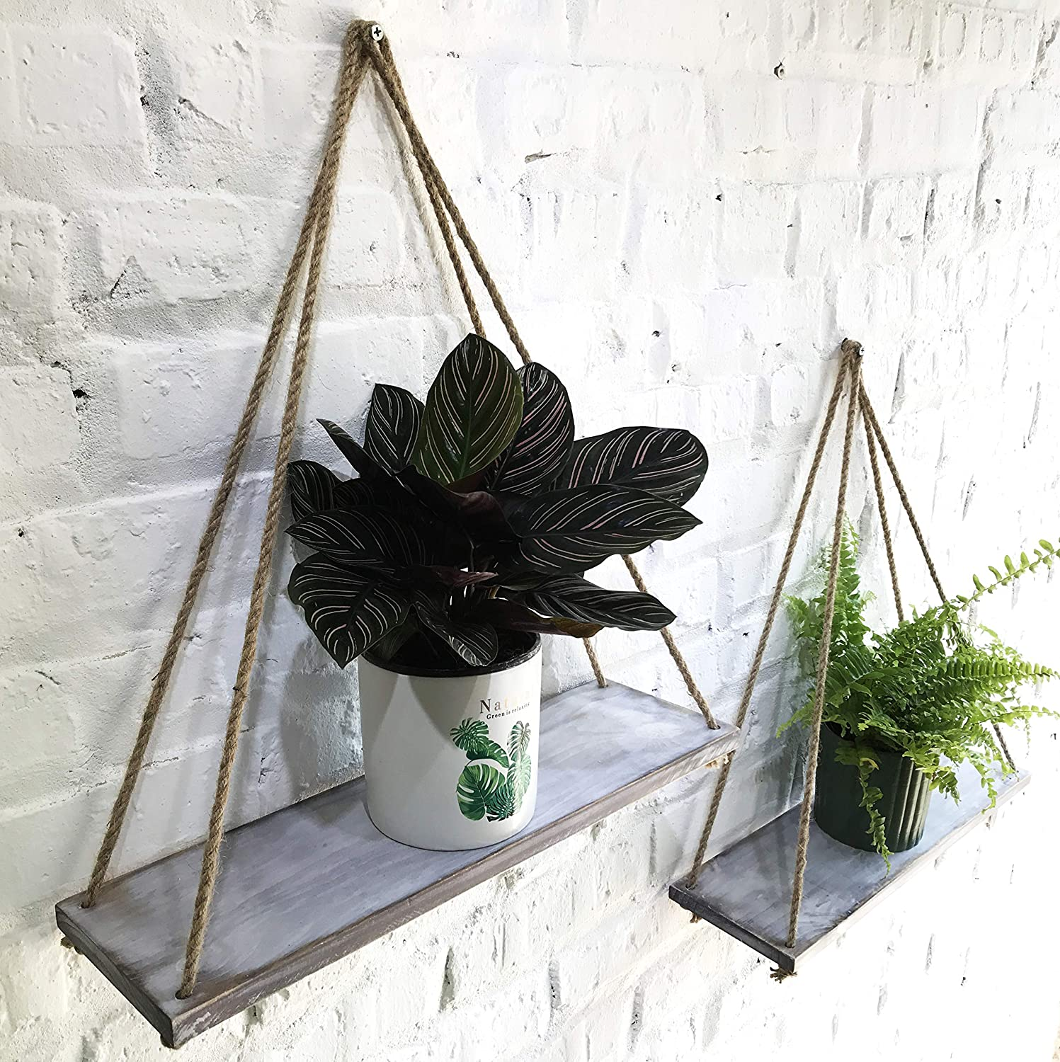 ASLINY [Set of 2 Distressed Wood Hanging Swing Rope Floating Shelves (Distressed White)