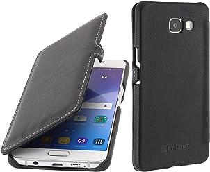 StilGut Book Type Case con Clip, custodia in pelle per Samsung Galaxy A5 (2016), Nero nappa