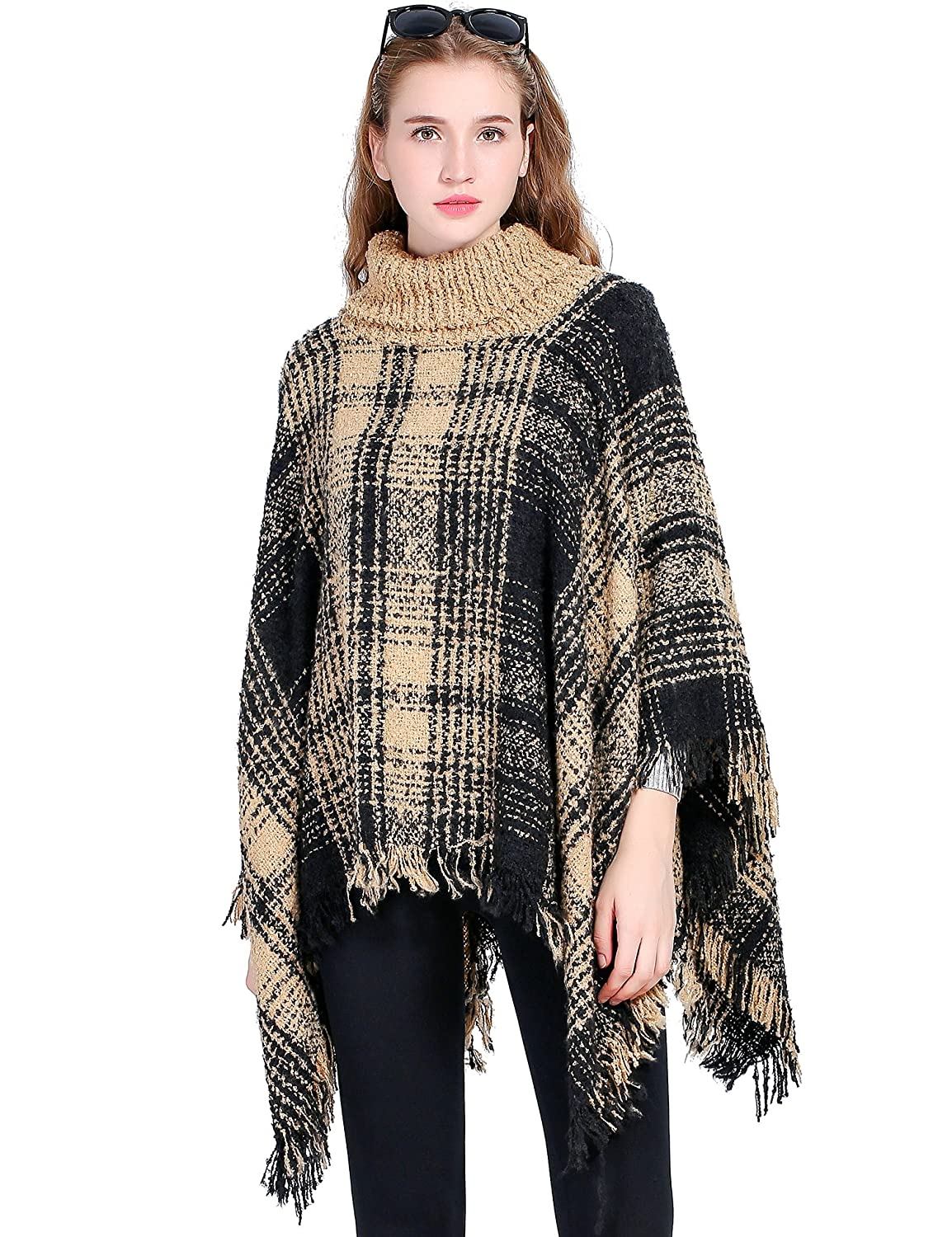 Womens Turtleneck Poncho Sweater Knitted Pullover Capes Tassel Pashmina Beautiful Four Season 039 80 Shawl Black And Yellow Plaid At Amazon Clothing Store