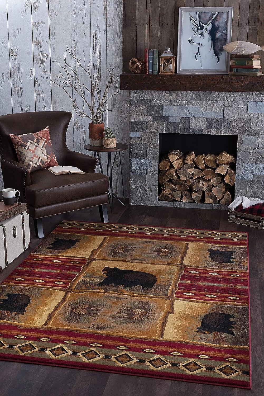 Sierra Bear Novelty Lodge Pattern Red Rectangle Area Rug, 5' x 7'