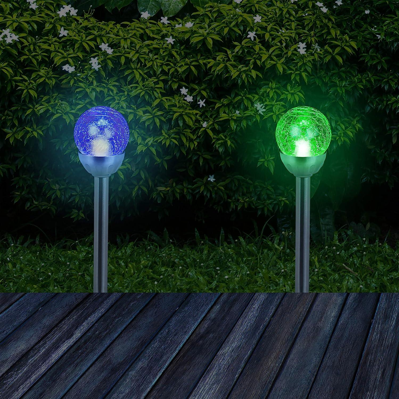 Relaxdays Set de cuatro luces solares para jardín, Lámparas modernas, Impermeable, Estaca para suelo, Cambio de color, Plateado: Amazon.es: Jardín