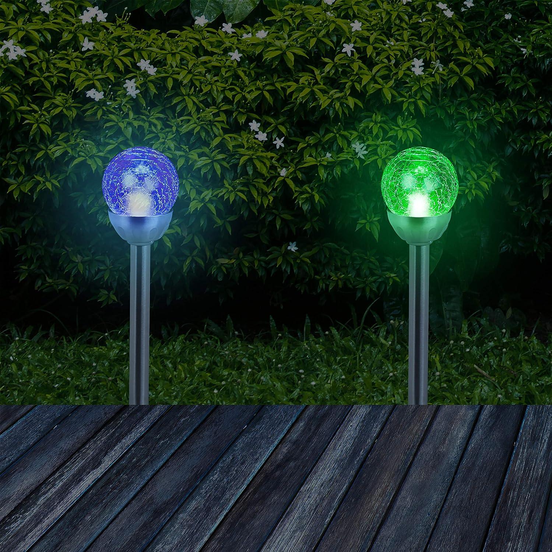 Farbwechsel Relaxdays Gartenleuchte Glaskugel im 4er Set silber wasserdichte LED Solarleuchten in Bruchglas Optik