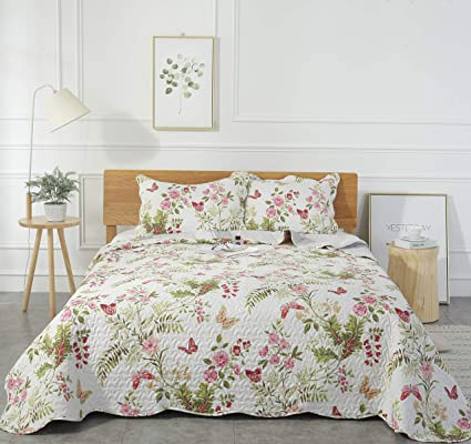 Pleasant Mohap Summer Quilt 3 Pcs Revisible Printed Floral Lightweight Quilt Set Embroidered Bedspread Coverlets Bed Throw With 2 Shams Hypoallergenic Vintage Home Interior And Landscaping Staixmapetitesourisinfo