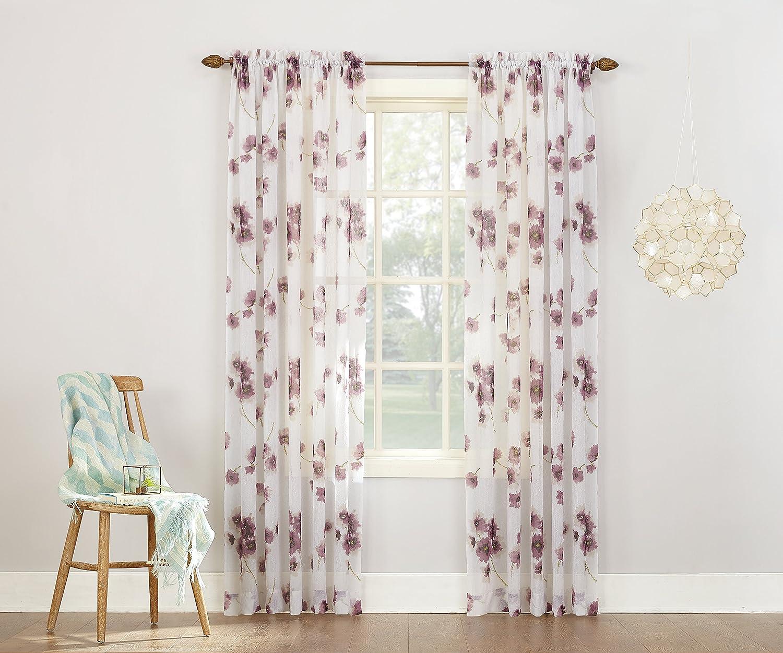 Coral Orange 51 x 63 No 918 Kiki Floral Print Crushed Sheer Voile Rod Pocket Curtain Panel