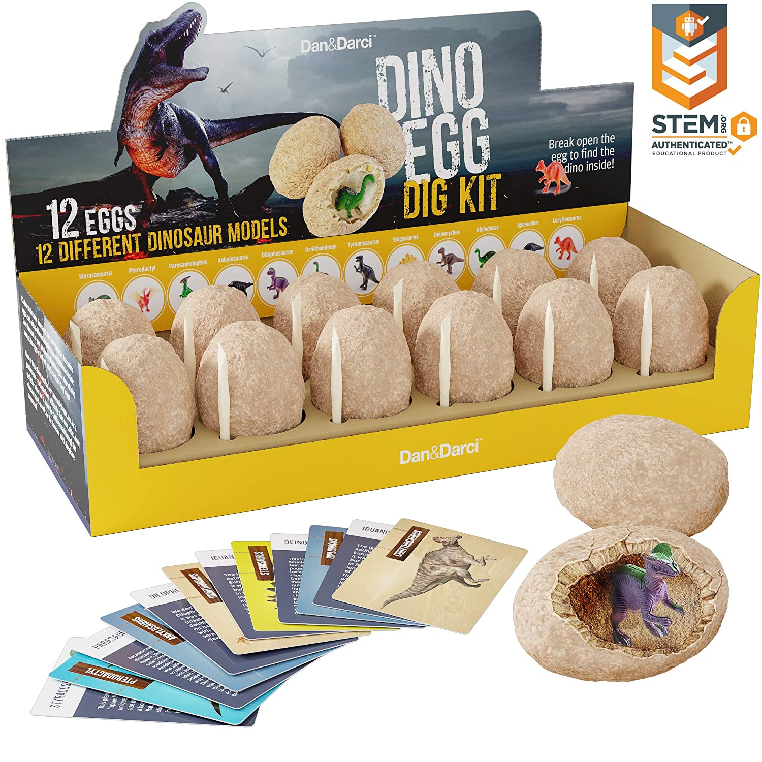Dino Egg Dig Kit – Break Open 12 Unique Dinosaur Eggs and Discover 12 Cute Dinosaurs – Easter Archaeology Science STEM Gift