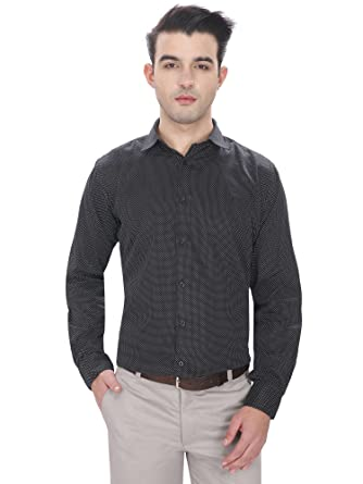 875e086d60 JScottwitchy Men s Pure Cotton Semi Formal Polka Dots Printed Black Shirt  ...