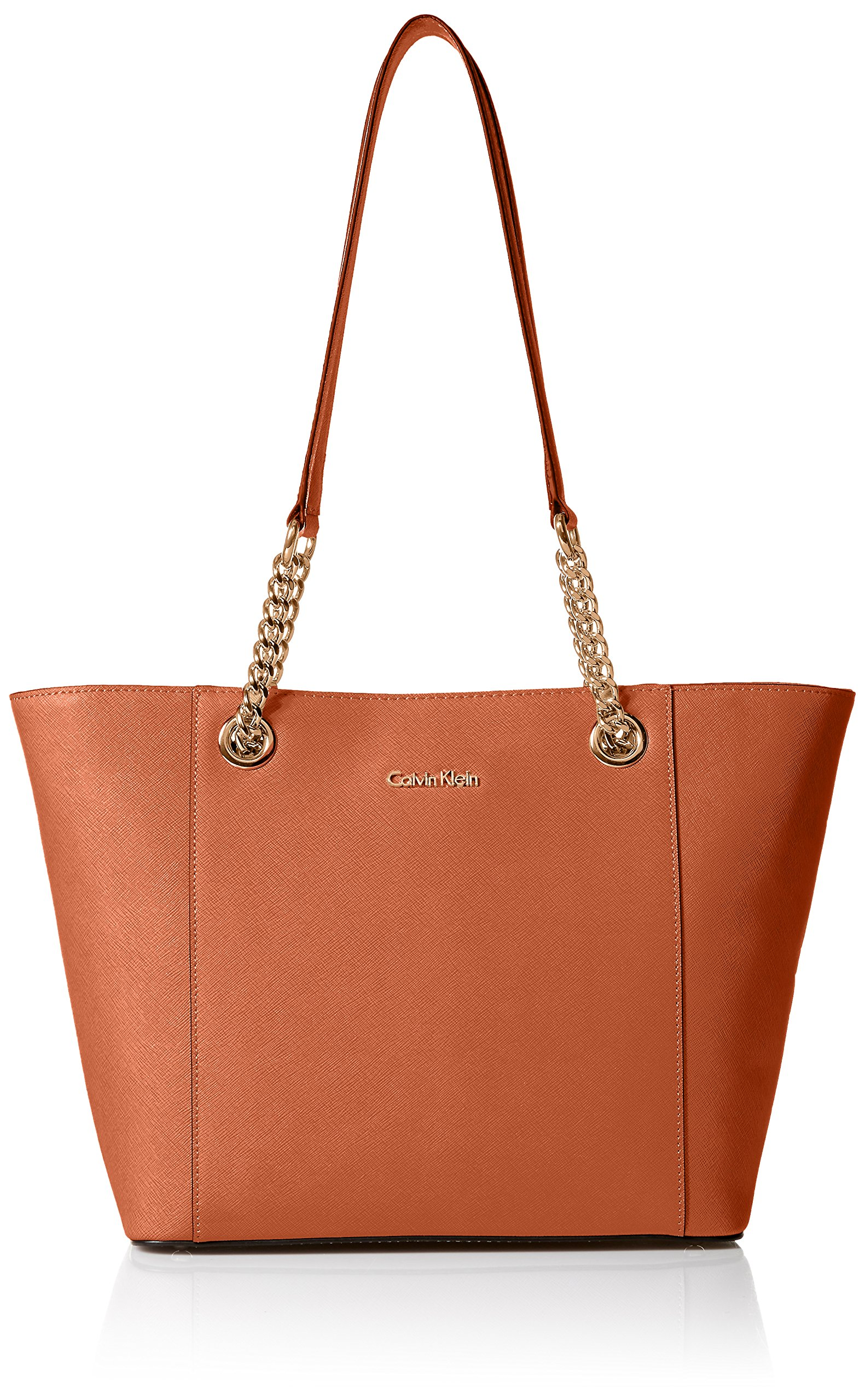 Calvin Klein Hayden Saffiano Leather East/West Top Zip Chain Tote, Burnt Orange