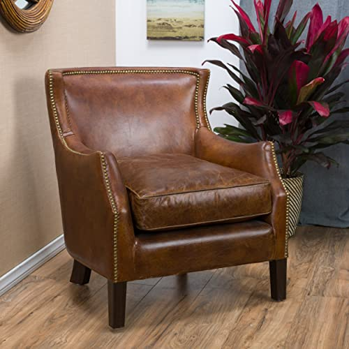 Christopher Knight Home 296713 Tiller Arm Chair Top Grain Leather Vintage, Light Brown