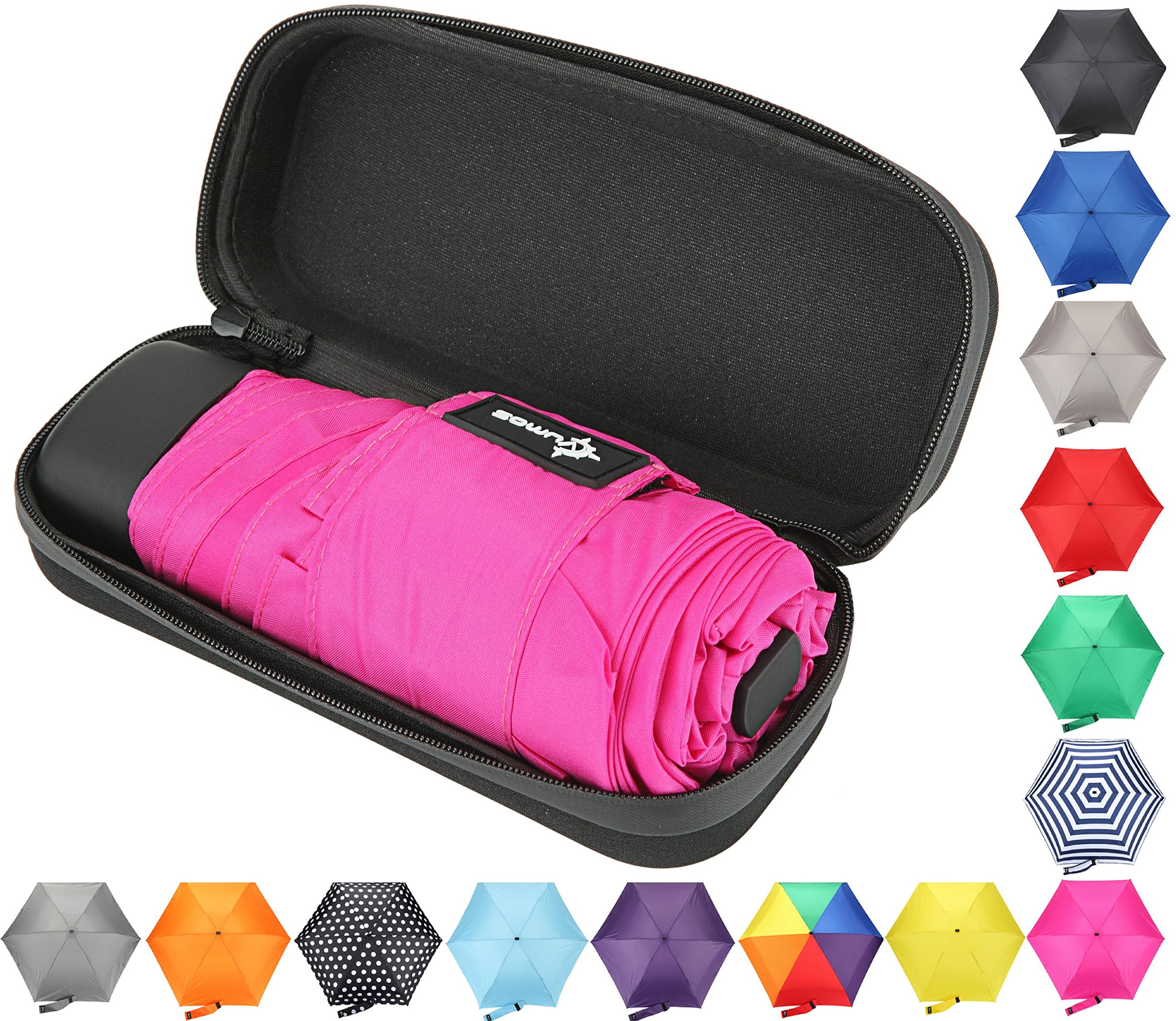 Travel Umbrella with Waterproof Case - Small, Compact Umbrella for Backpacks, Purses, Briefcases or Cars - Versatile, Unisex Design - Made with Water-Resistant Pongee Fabric - Premium Quality - Pink