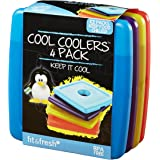 Fit & Fresh Cool Coolers Slim Reusable Ice Packs for Lunch Boxes, Lunch Bags and Coolers, Set of 4, Multicolored